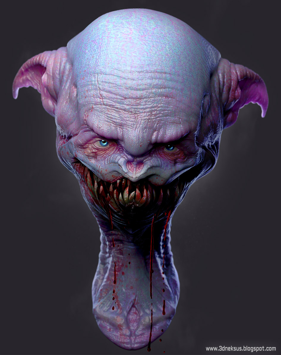 2013.05.23  Smiley-alien Blender-Zbrush-Photoshop rendered in cycles with new sss shader (алиан,Alien)