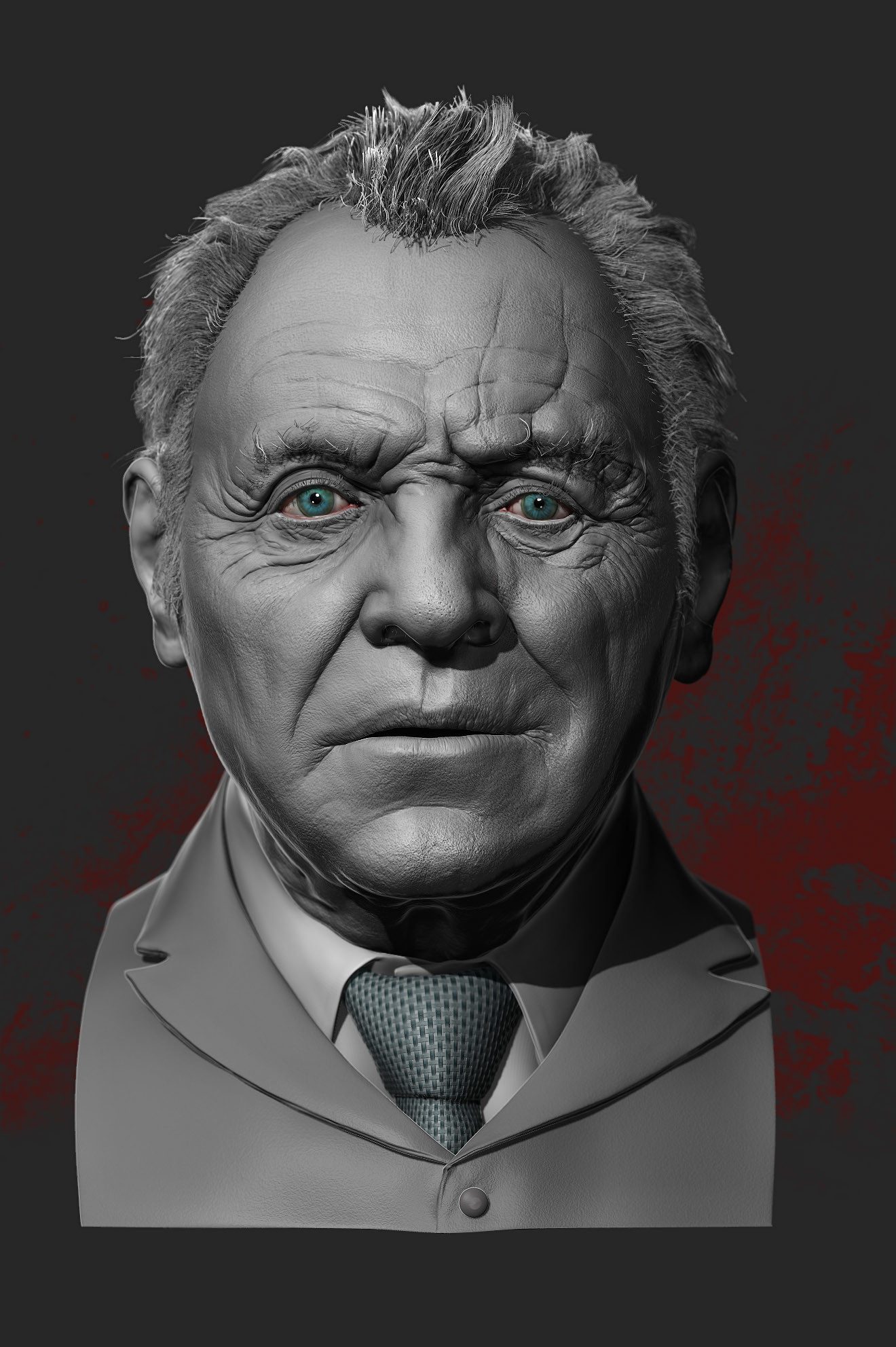 2017.03.19  Likness sculpt of Anthony Hopkins Zbrush/Photoshop