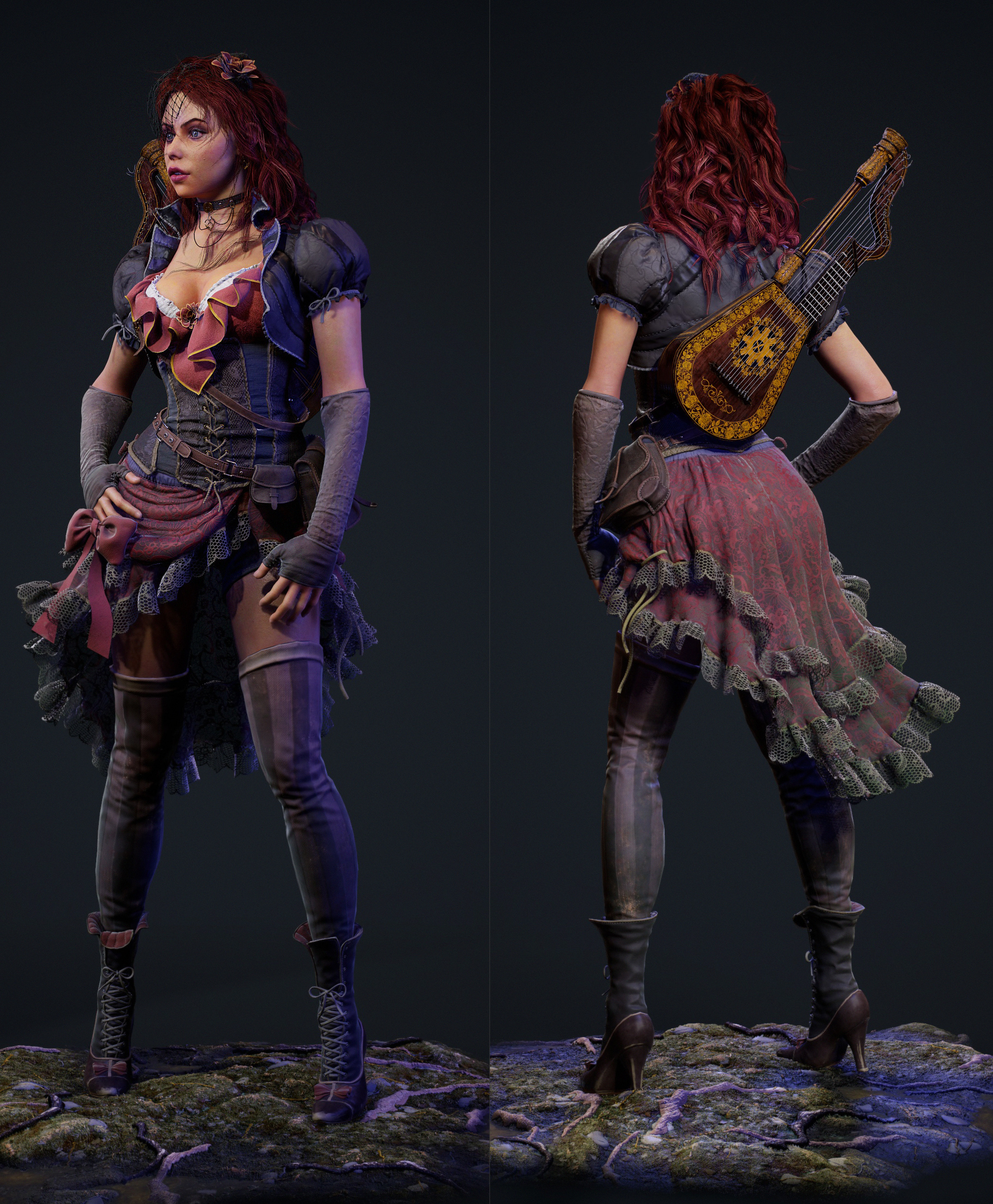 2019.04.06  Real time 3d character textured in substance painter/designer (77k polys and 17.6k HarpLute) four -4k sets of maps (skin,dress,accessories,harp-lute) Eyes and ground done in substance designer. You can buy all project files from my gumroad https://gum.co/DsefG