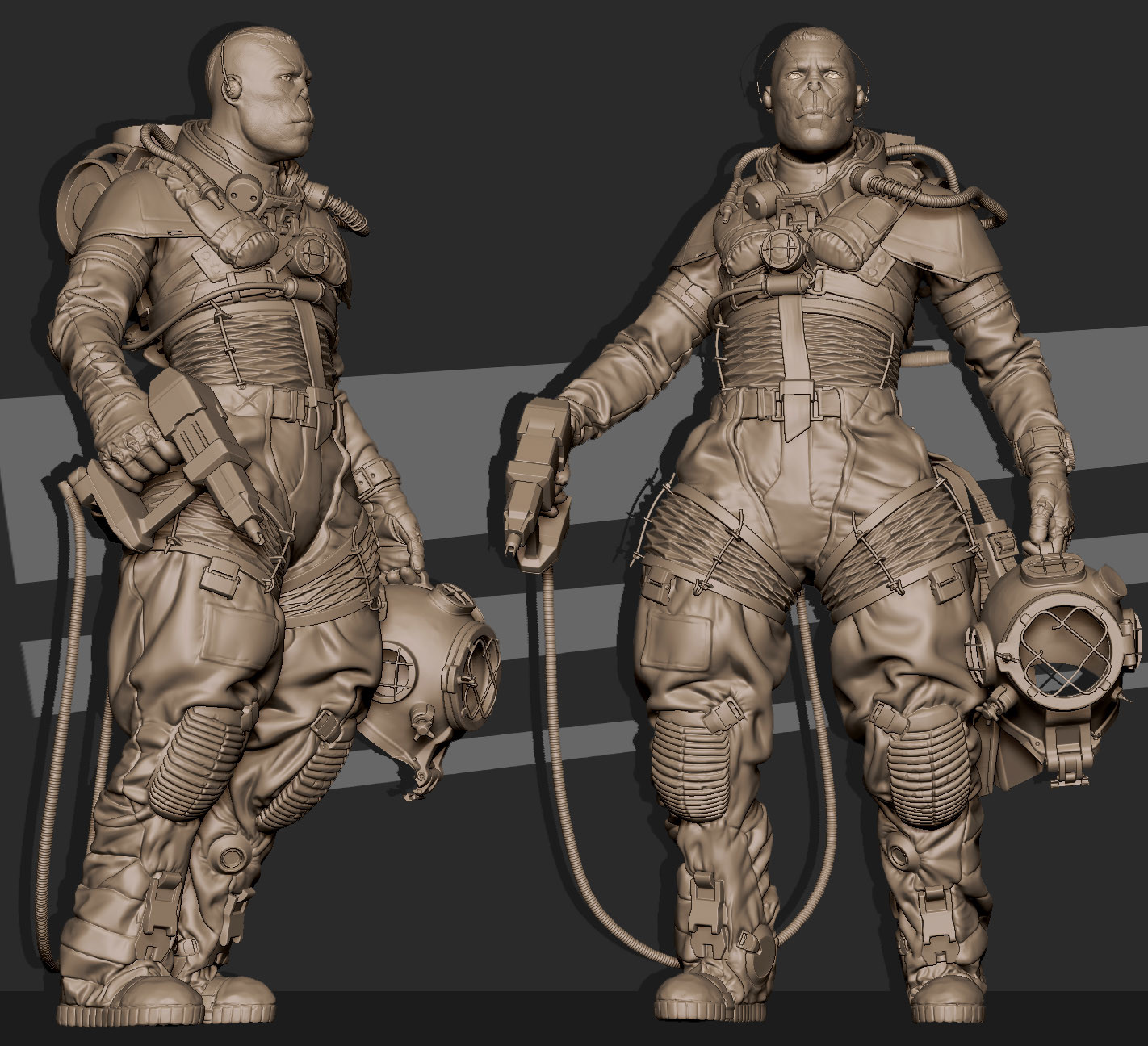 2018.05.10  My take on sci-fi engineer-diver character for Beneath the Waves Challenge.Concept by Giorgio Baroni. 2 -4k texture sets 69k tris