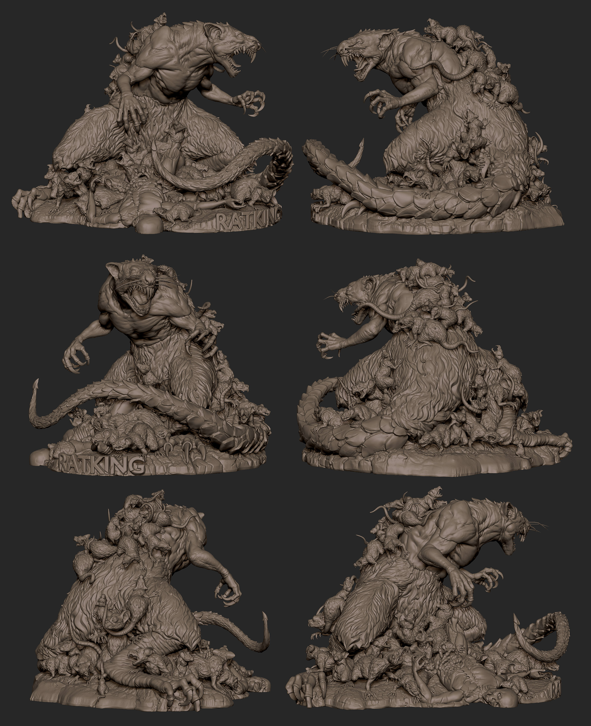 2019.09.29  Giant Rat sculpt for 3d print based on art from Russell Dongjun Lu