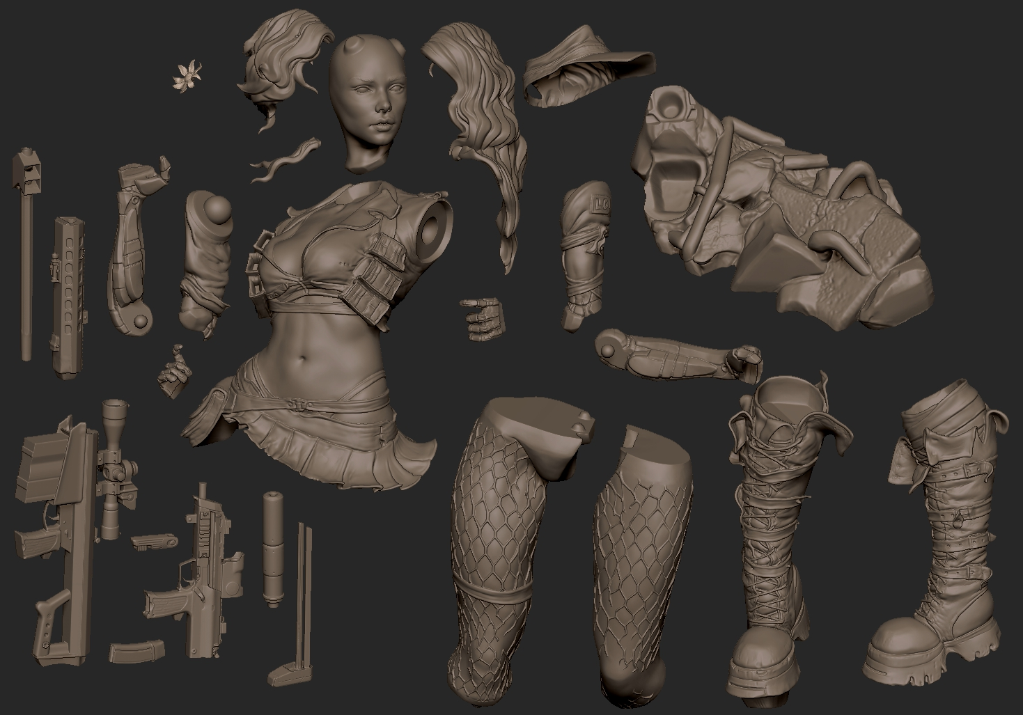 2019.09.21  Cyborg Girl collectible for 3d printing available on my patreon.com/BorisArt or gumroad