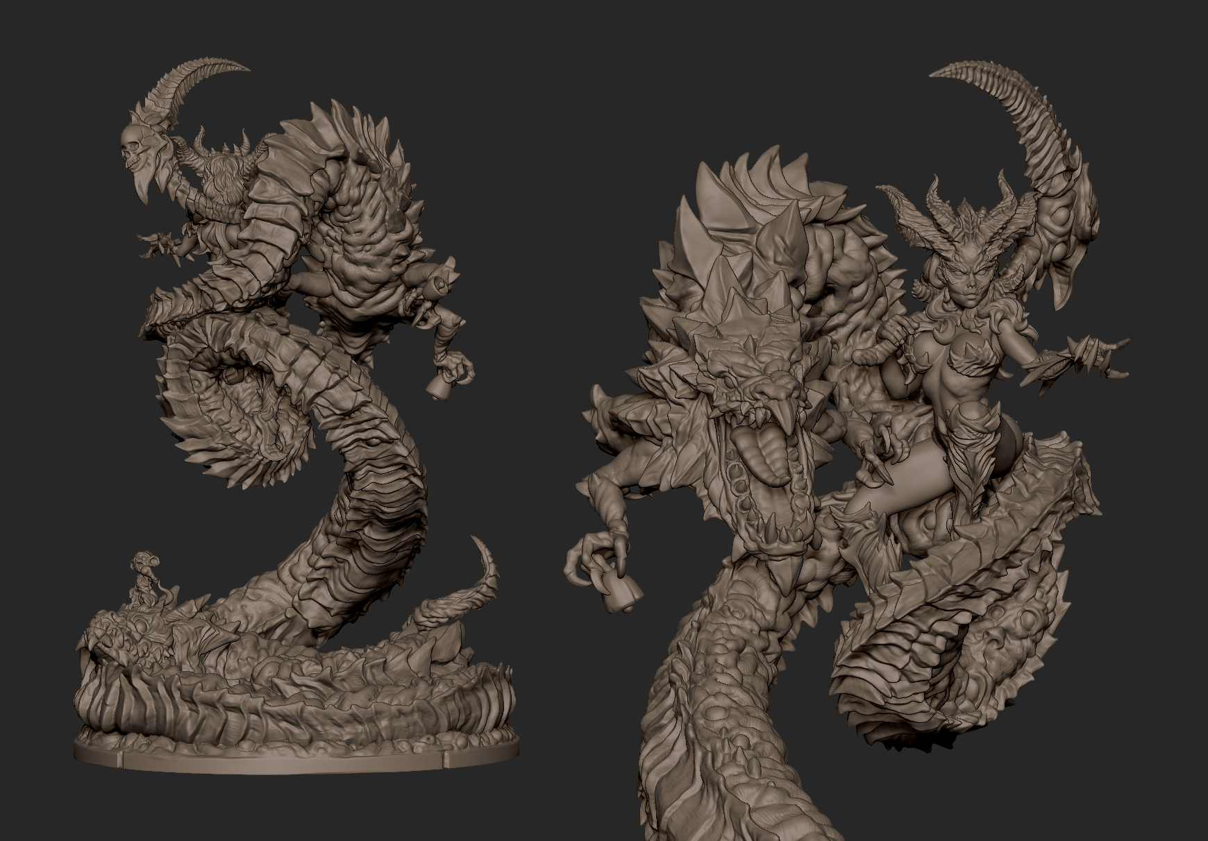 2020.10.31  DeathGift first monster Dragon Queen 100mm stand 155mm height all Dragon link can be attached with magnets. Can buy from my gumroad or patreon